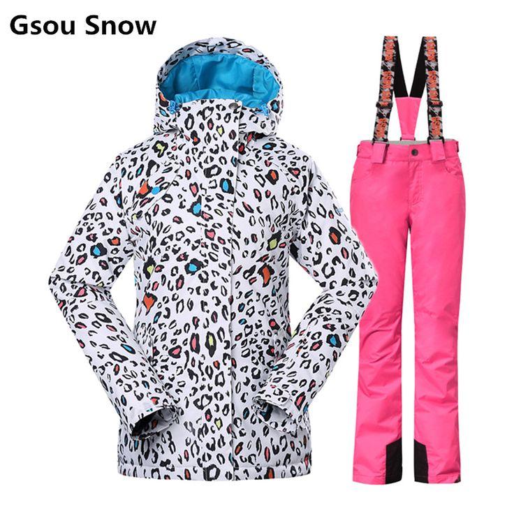 Gsou Snow winter ski suit women ski jacket and pants tablas de snowboard skiing clothing veste ski jas dames esqui femme #Affiliate