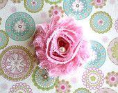 Rosa con bianco polka Dots Shabby Chiffon, clip di capelli nei bambini, clip di capelli di ragazze, ragazzi & adulti clip di capelli o fascia neonato