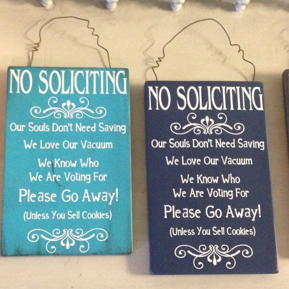 No Soliciting Sign on Etsy, $25.00