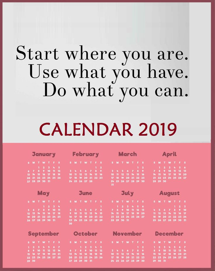 yearly 2019 motivational quotes calendar template