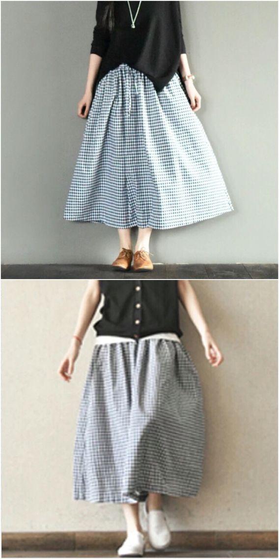 White black gird skirt women clothes