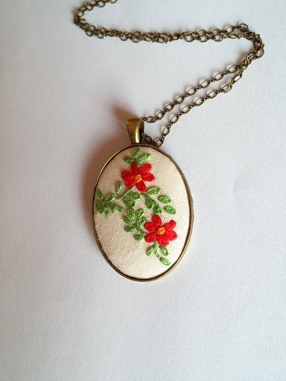 Pendant Necklace, Red Flower Necklace, Hippie Necklace, Romantic Gift for Her, Unique Necklaces for Women