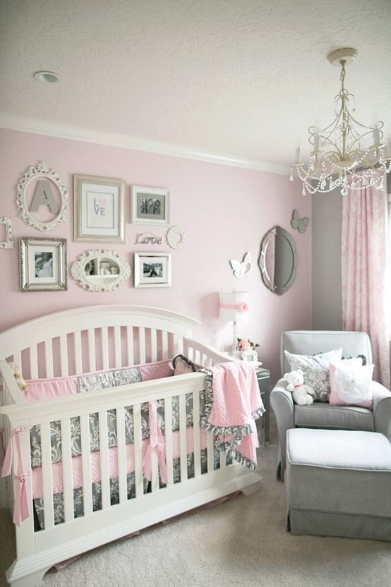 Sweet baby girl room decorated in pink and grey