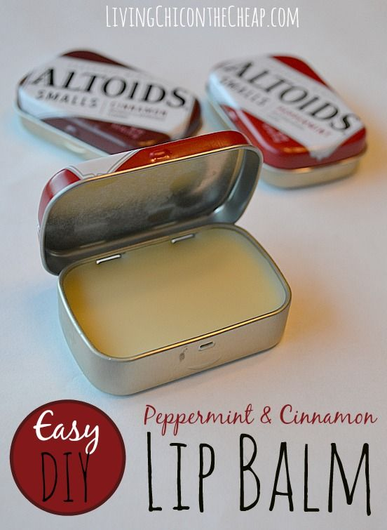 ****DIY Peppermint & Cinnamon Lip Balm (Upcycle Altoids Smalls Tins)***** Here is a fun Beauty DIY and upcycle project! I had a couple of Altoids Smalls tins and I hated just to toss them. I had recently made homemade Honey Lip Balm and thought it would be fun to make peppermint and cinnamon lip balms and upcycle the tins.