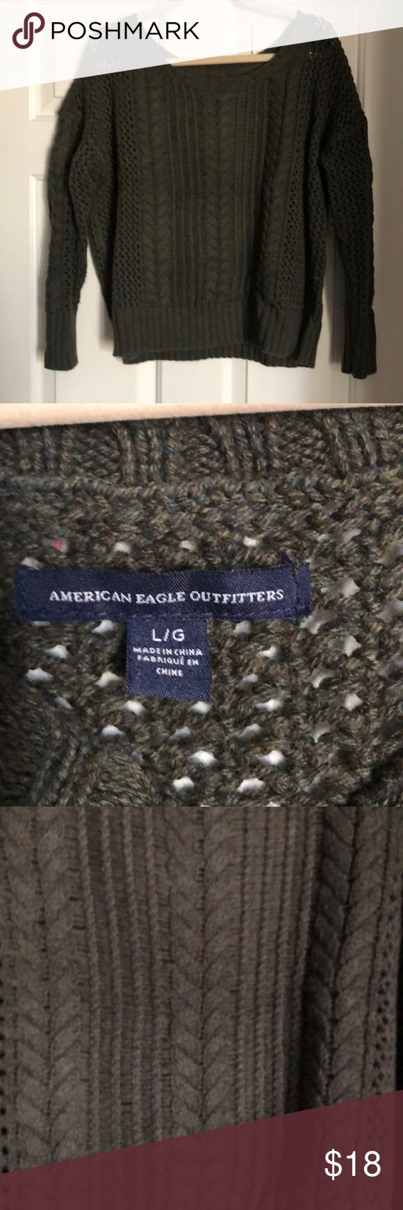 Olive green sweater Gently worn olive green sweater, scoop neck, waist length American Eagle Outfitters Sweaters Crew & Scoop Necks