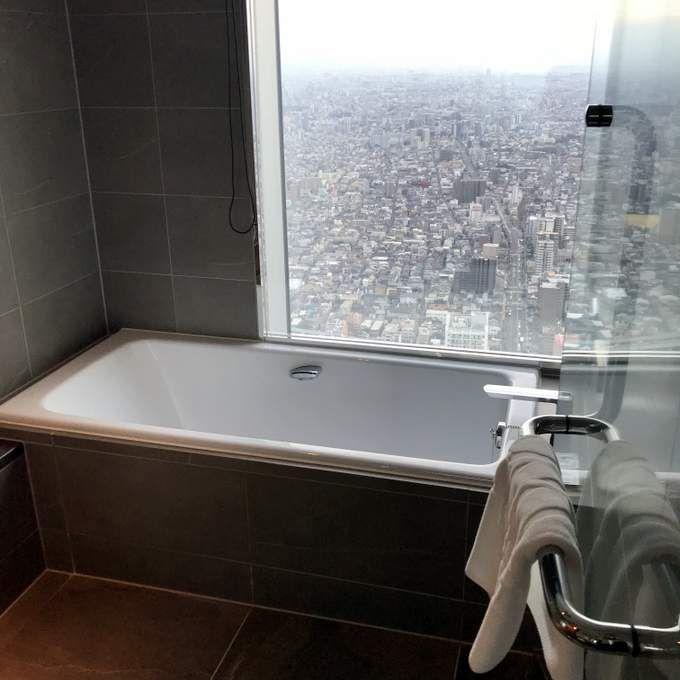 deep soaking tub with a view, room #4723, Marriott Osaka Miyako hotel