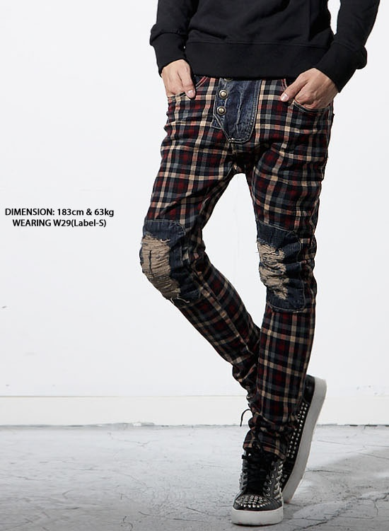 Bottoms :: Jeans :: Baggy Skinny Patchwork Jeans-Jeans 22 - Mens Fashion Clothing For An Attractive Guy Look