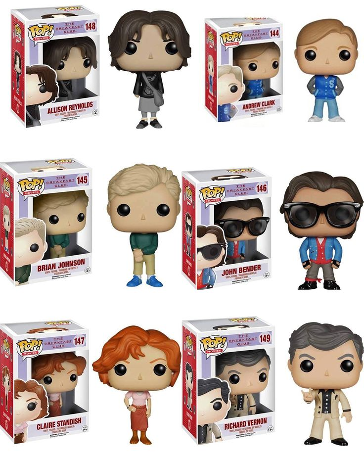 Funko Breakfast Club John Bender, Claire Standish, Richard Vernon, Allison Reynolds, Andrew Clark and Brian Johnson POP! Vynil Figures Set of 6