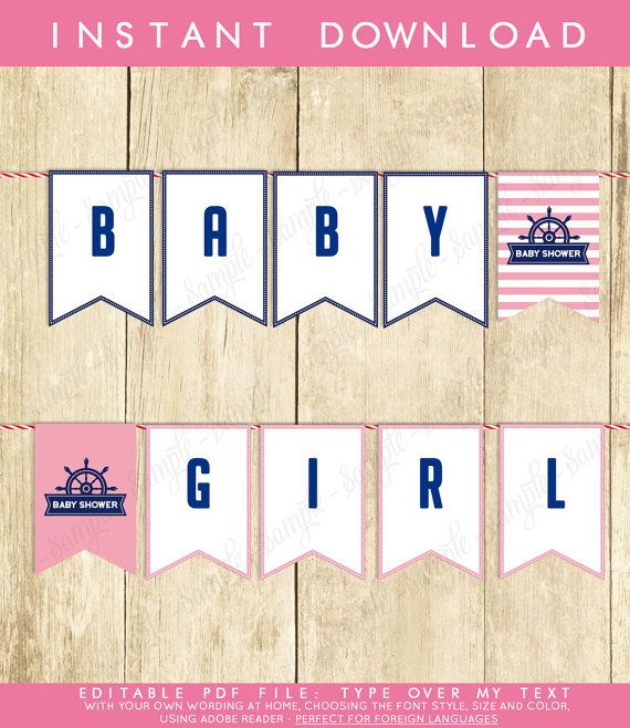 Instant Download Nautical Baby Shower Banner Navy Pink Nautical Bunting Banner Nautical Pendent Banner Girl Shower Banner Blue 0001A-P by TppCardS #tppcards #printable #invitations