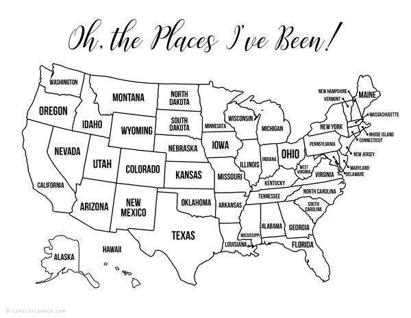13 Free Printable Usa Travel Maps For Your Bullet Journal Usa