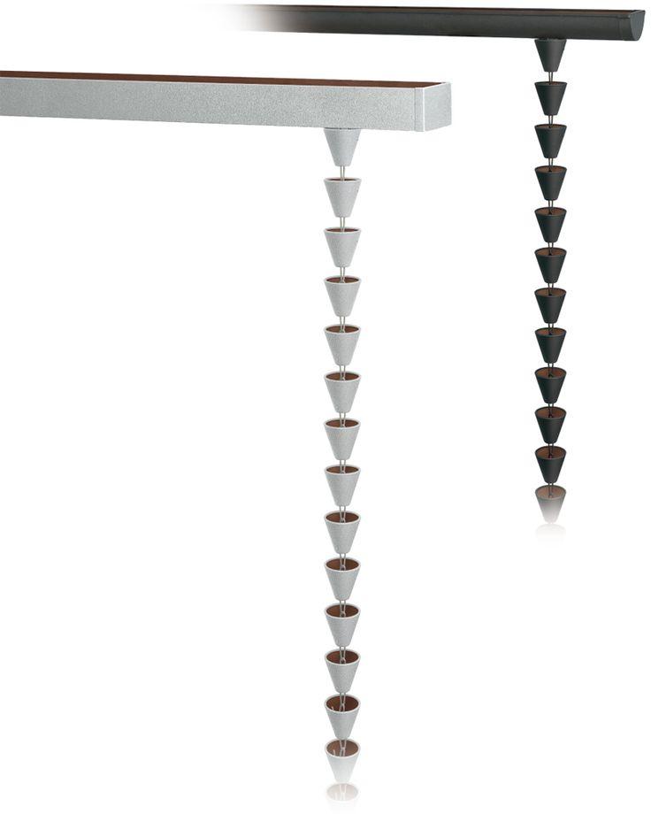 タニタハウジングウェアは、シンプルな円錐状のカップを連ねた鎖樋(くさりとい)「ensui」をタニタガルバシリーズに新たに加え、2015年10月10日に発売した。