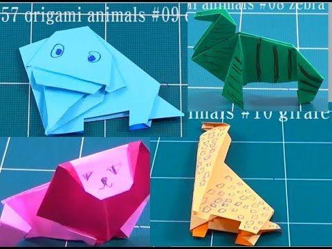 동물 종이 접기 컬렉션 - 초원 동물 - 기린 코끼리 사자 얼룩말
