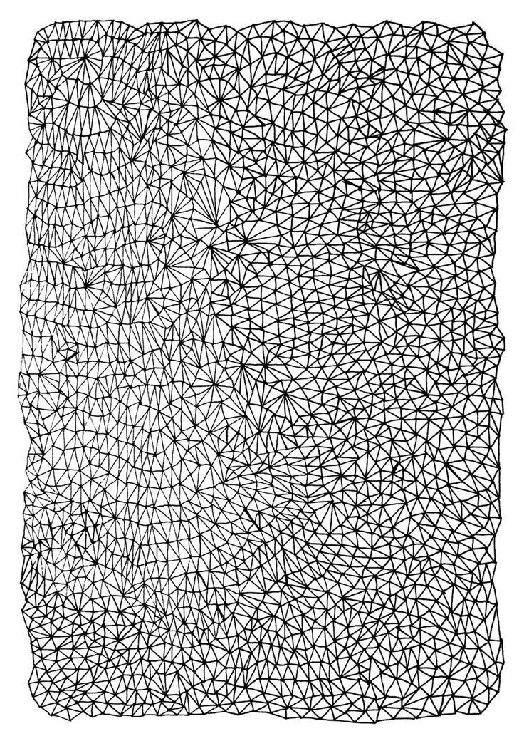 Mesh pattern by Kriszti Balla #pattern #krisztiballa #mesh #geometric #sketch #patternlove   #surfacepatterndesign #bw