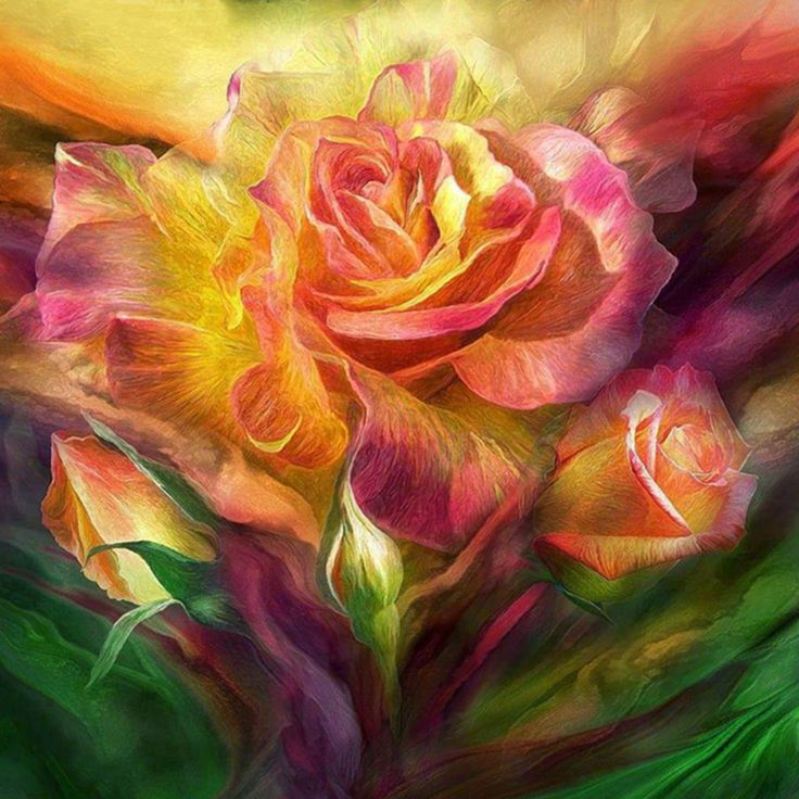 5d diy daimond painting  u0026quot fantasy rose flower u0026quot embroidery full square diamond cross stitch