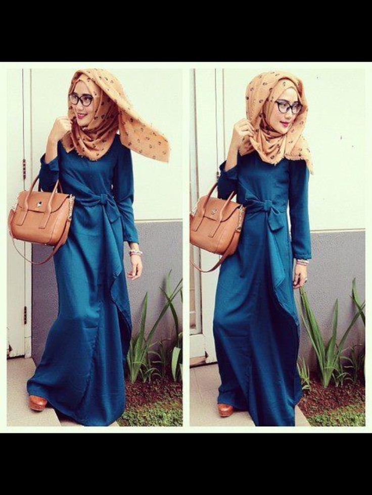 blue long dress and specs