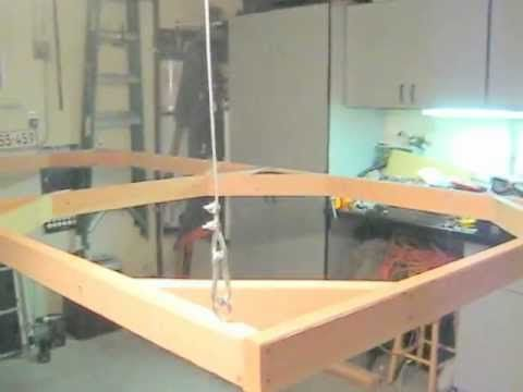 Video: Drop down train table on winch system; add fold down legs for stability in lowered position