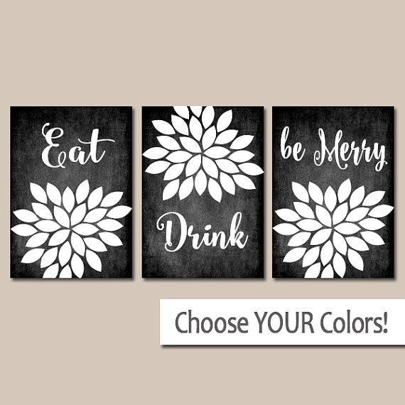 EAT DRINK Be Merry Wall Art   Kitchen Artwork   CANVAS Or Prints Chalkboard  Pictures   Flower Burst   Quote   Set Of 3 Home Decor