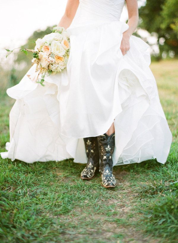 Love the wellies and wedding dress