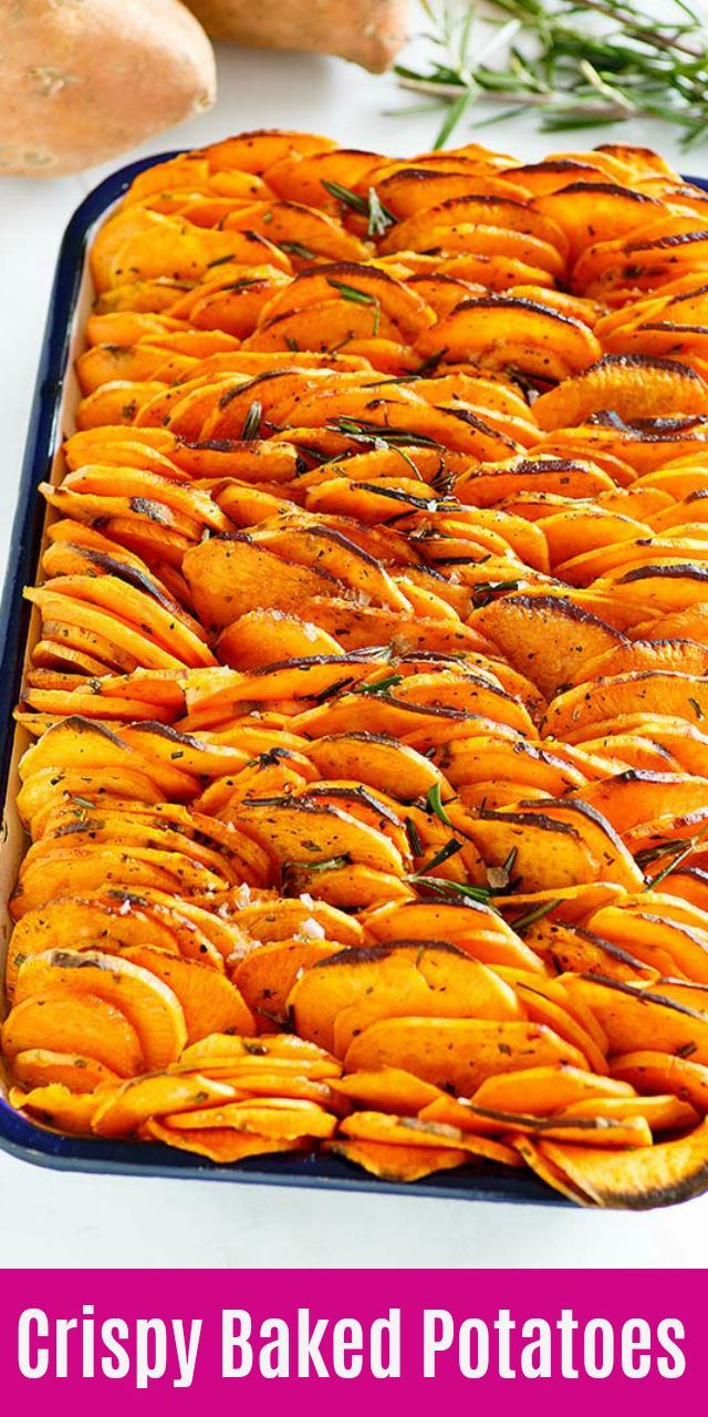 Crispy Baked Sweet Potatoes So Delicious These Potatoes Are Thinly Sliced And Then Baked In The Oven Baked Sweet Potato Slices Sweet Potato Recipes Recipes