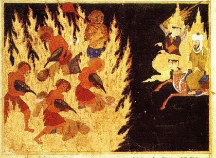 this ancient painting shows Muhammad's trip in which he is shown sinners suffering in hell.