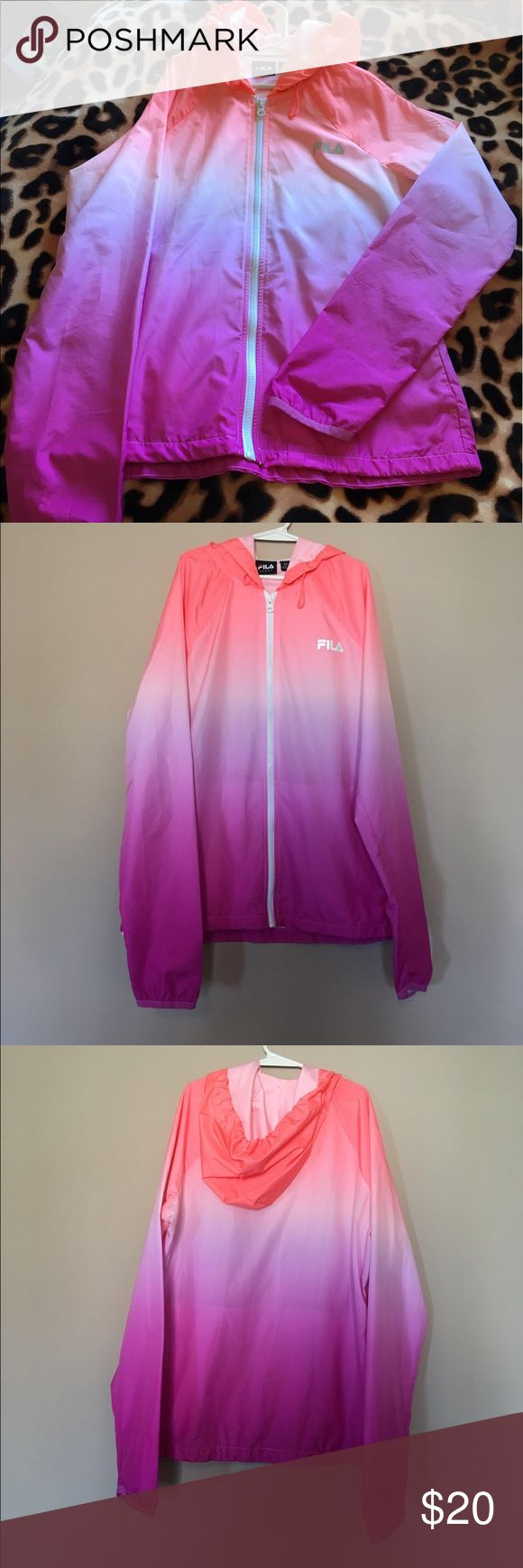 FILA Ombré Rain Jacket!😍 super cute rain jacket! very thin jacket with zipper & hood. only worn a handful of times. Bundle with me to save 20%! REASONABLE offers always considered! Fila Jackets & Coats