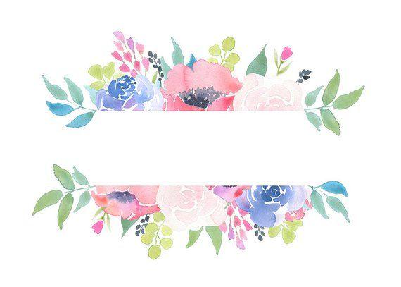 Floral Frame Clipart Flower Arrangement Pre Made Invites Etsy Flower Frame Watercolor Flower Background Floral Watercolor