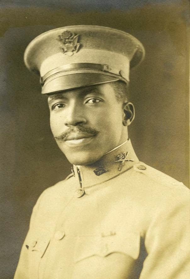 Three African Americans were killed in World War I. Their names were placed on the bottom of the Memorial, separated from the white...