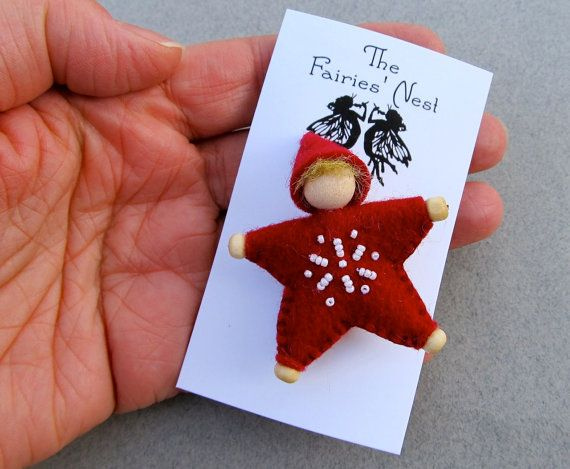 Felt star elf ornament