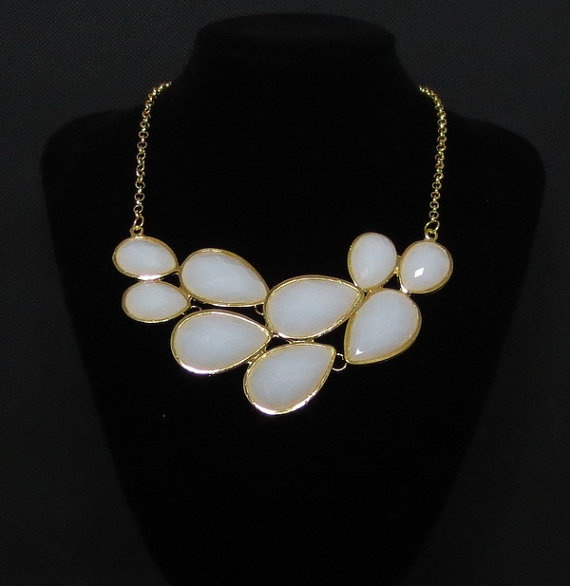 Bubble necklace White necklace statement neclace by AnnyJewelry, $9.90