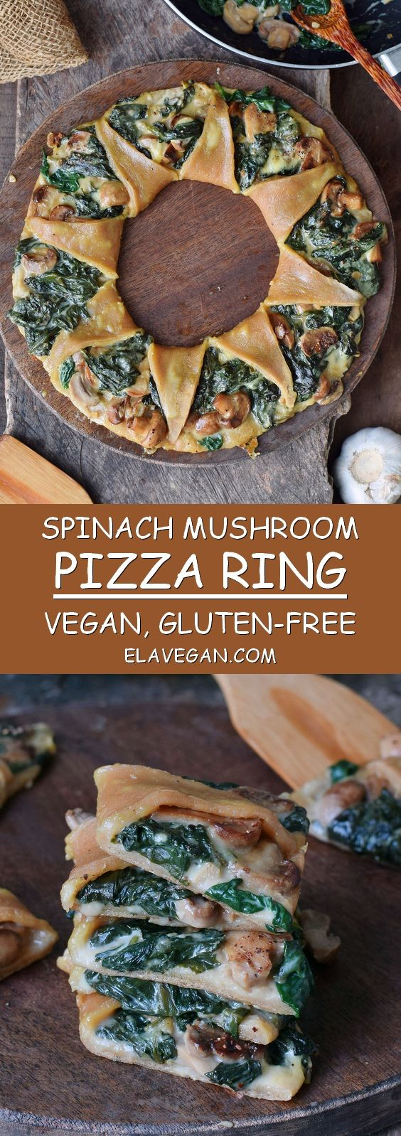 This pizza ring (also known as Pizza Corona) with spinach, mushrooms and vegan c…