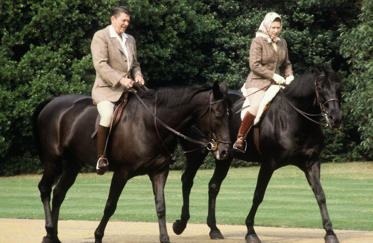 Many know Queen Elizabeth loves her corgis, but she's also very passionate about horses. She rides, breeds, and races them, and even held a private audience with the Horse Whisperer. Here she is riding with then President Ronald Reagan.