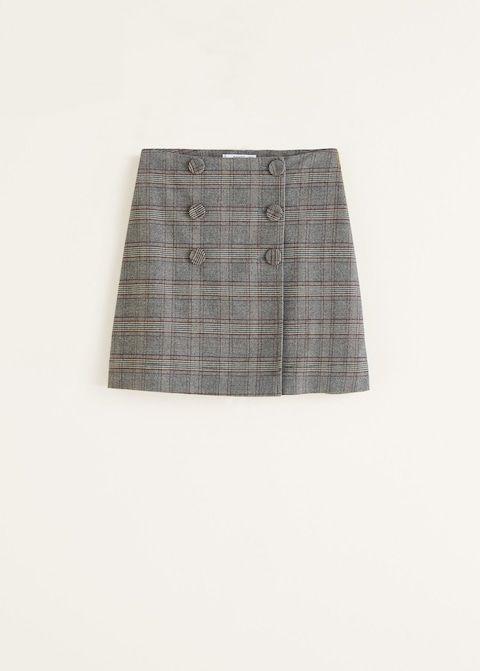 Falda cuadros botones - Faldas de Mujer  49eb93be02d1