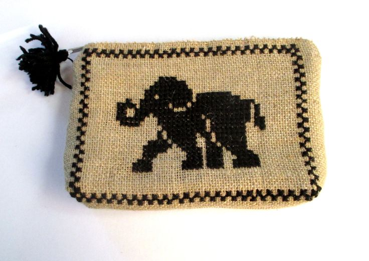 Burlap pouch bag, cross stitch embroidery with black elephant,accessories pouch, handmade pouch, travel accessory by Apopsis on Etsy