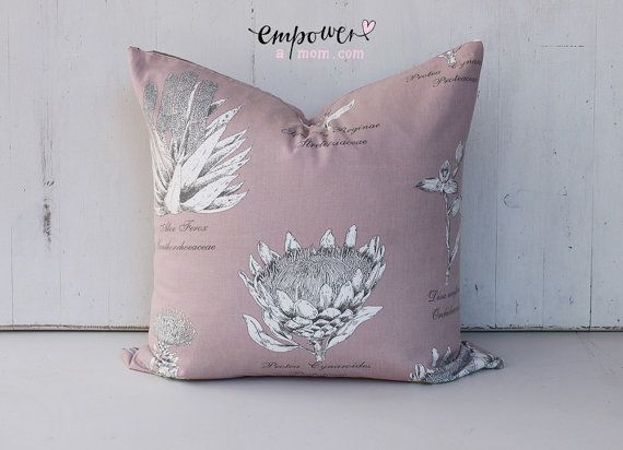Champagne Pink - Square Pillow Cover: Botanical Protea pattern in premier South African designer fabric