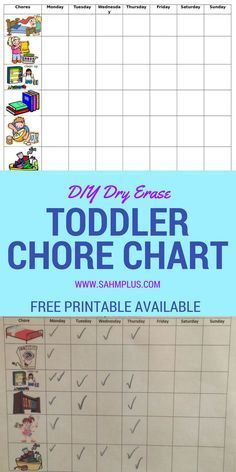 Printable chore charts with pictures for toddlers and preschoolers.  How to make a #diy dry erase toddler chore chart OR get a free printable chore chart with pictures.