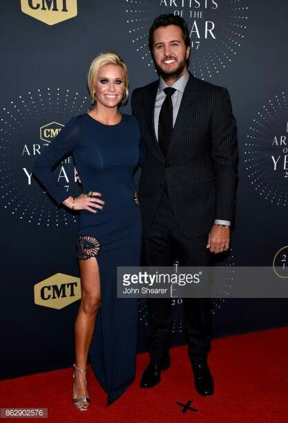 Luke Bryan & His Wife On The Redcarpet At 2017 CMT Artist Of The Year