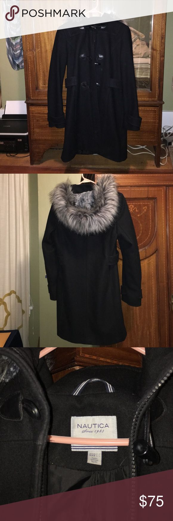 Nautica Women's Black Pea Coat w/ Faux Fur Hood Extra warm and cozy with wool material, gray-black faux fur hood, and toggle closures on top of zipper. Was given to me as a gift last winter but I already had a coat. Very small, minor marks from me rubbing a fresh dryer sheet over it to remove any cat fur that may have gotten onto it while hanging in my closet. Nautica Jackets & Coats Pea Coats