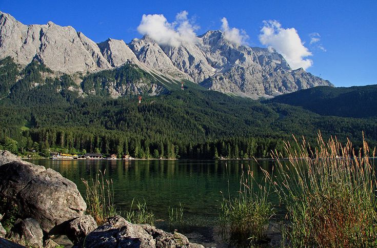 View at lake Eibsee with the mountain Zugspitze (Gemany's highest mountain) in the background