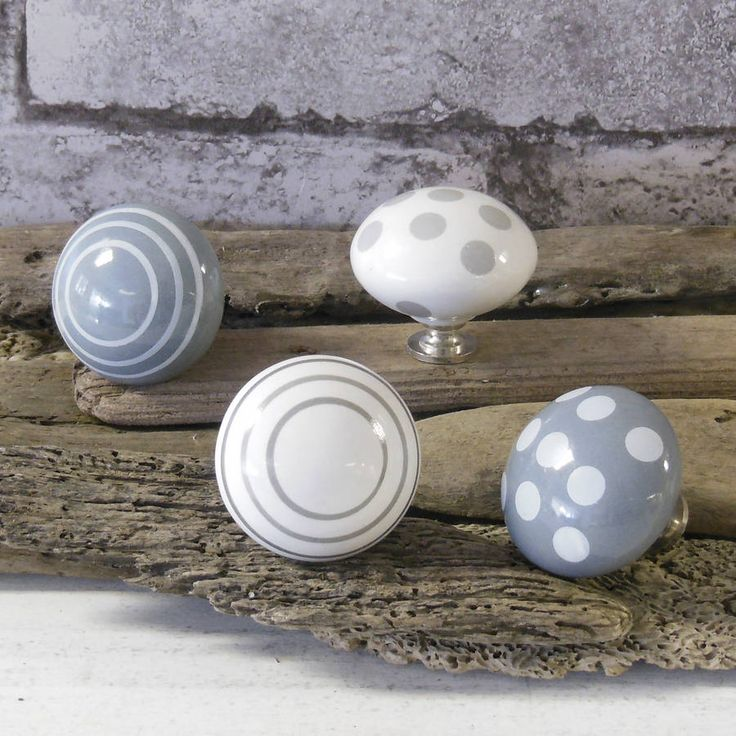 grey spots and stripes ceramic door knobs by pushka knobs | notonthehighstreet.com