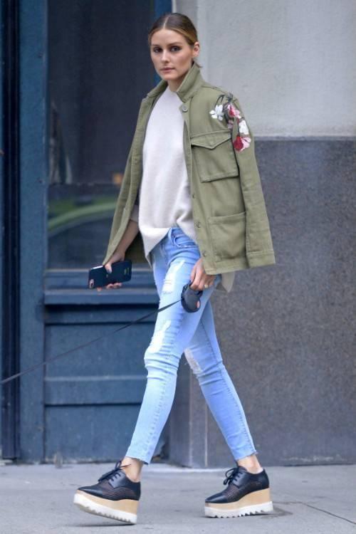 Olivia Palermo wearing Stella McCartney Elyse Platform Brogues and Topshop Floral Embroidered Shacket