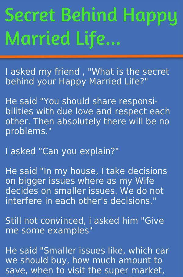 Secret Of Happy Married Life Happy Wife Happy Life Quotes Happy Wife Quotes Happy Married Life Quotes