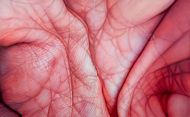 This extreme close-up painting of folds of human flesh could be interpreted in terms of folding, rolling skin.