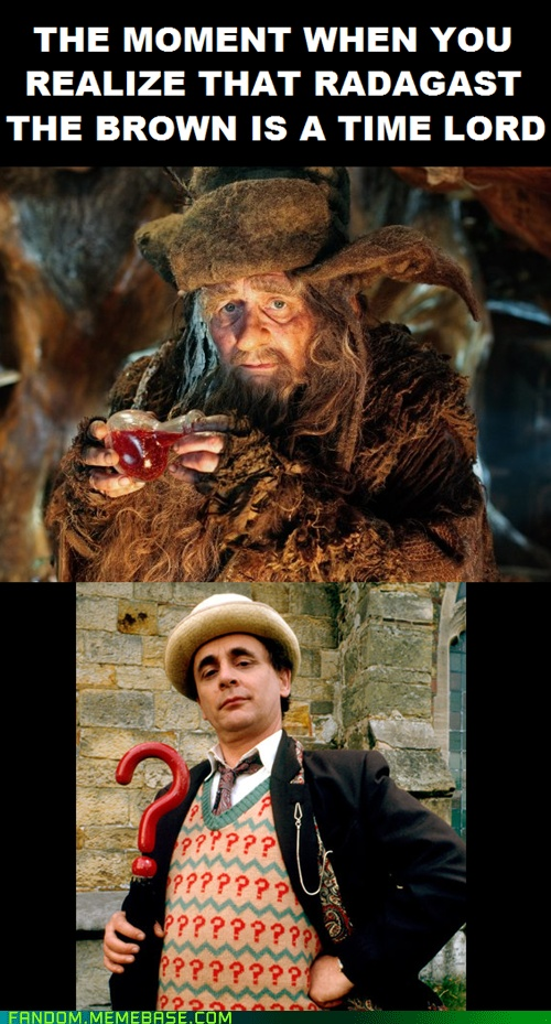 The moment when you realize Radagast the Brown is a Time Lord. (I actually screamed when I saw this.)