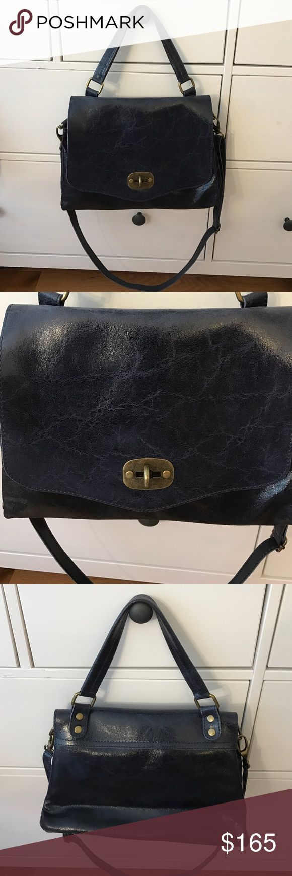 Navy Leather Day Bag Genuine leather, navy, shoulder strap, cross body strap, gold hardware, made in Italy, bought in Florence, never used!! Bags Shoulder Bags