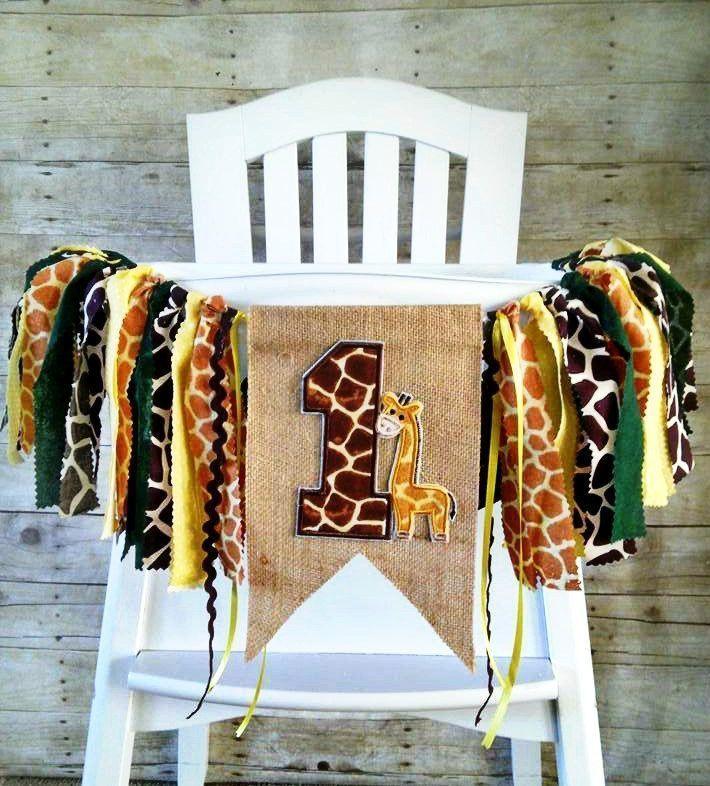 Giraffe Safari Jungle Zoo 1st Birthday High Chair Banner Fabric