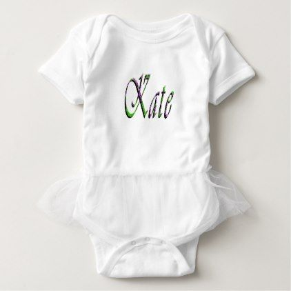 Kate Name Logo Baby's White Tutu Bodysuit - floral style flower flowers stylish diy personalize