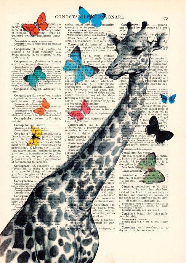 Tirages & Posters, Décoration de chambre de la girafe de l'enfant. est une création orginale de Dictionary-vintage-book-page sur DaWanda