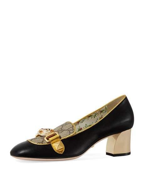 e7e51c79c Get free shipping on Gucci 55mm Cheryl Leather GG Pump With Tiger Bit at  Neiman Marcus. Shop the latest luxury fashions from top designers.