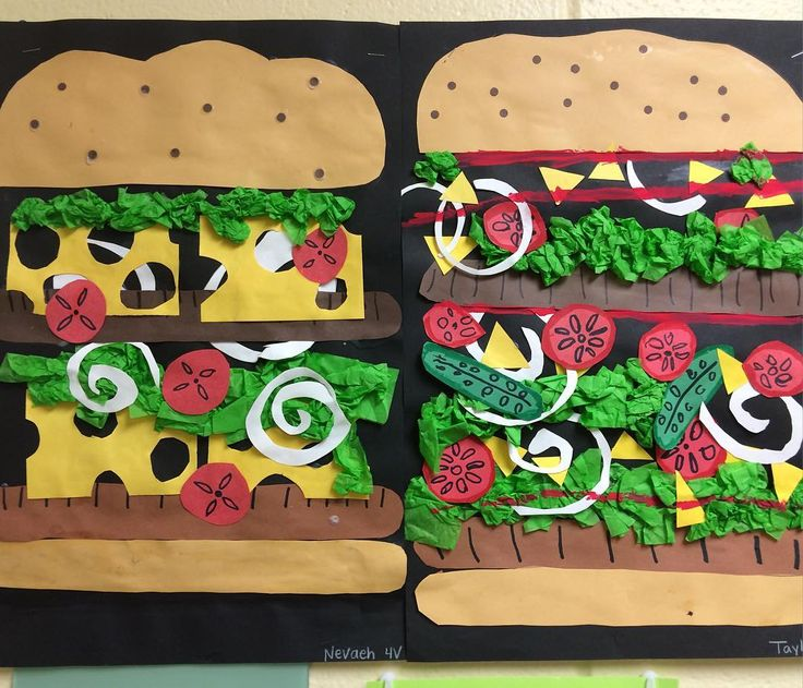 Cheeseburger collage created by 4th graders at Holly Hills School #collage#cheeseburgers#elementary art#kids art