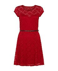 Rich Red (Red) Red Cap Sleeve Floral Lace Skater Dress  | 302458168 | New Look @New Look